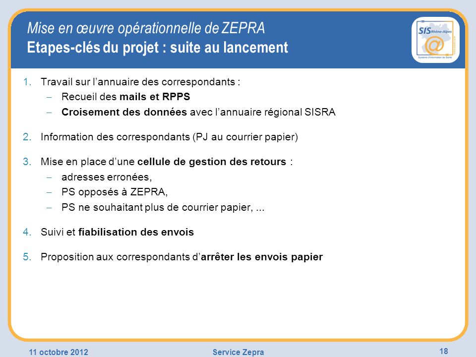Mise en œuvre opérationnelle de ZEPRA Etapes-clés du projet : suite au lancement
