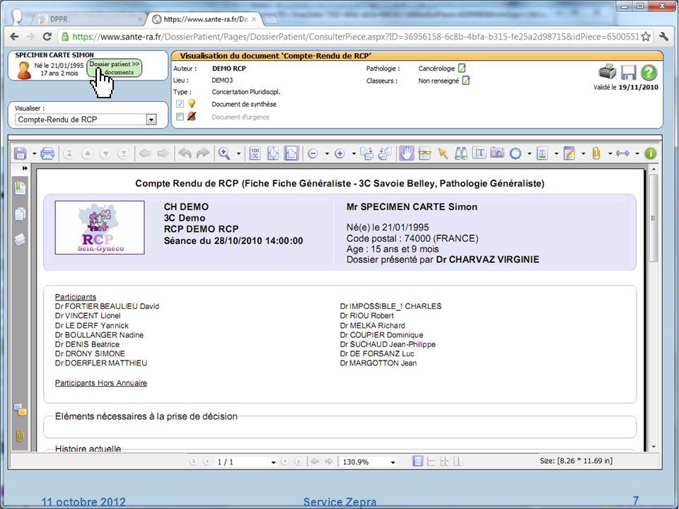11 octobre 2012 Service Zepra