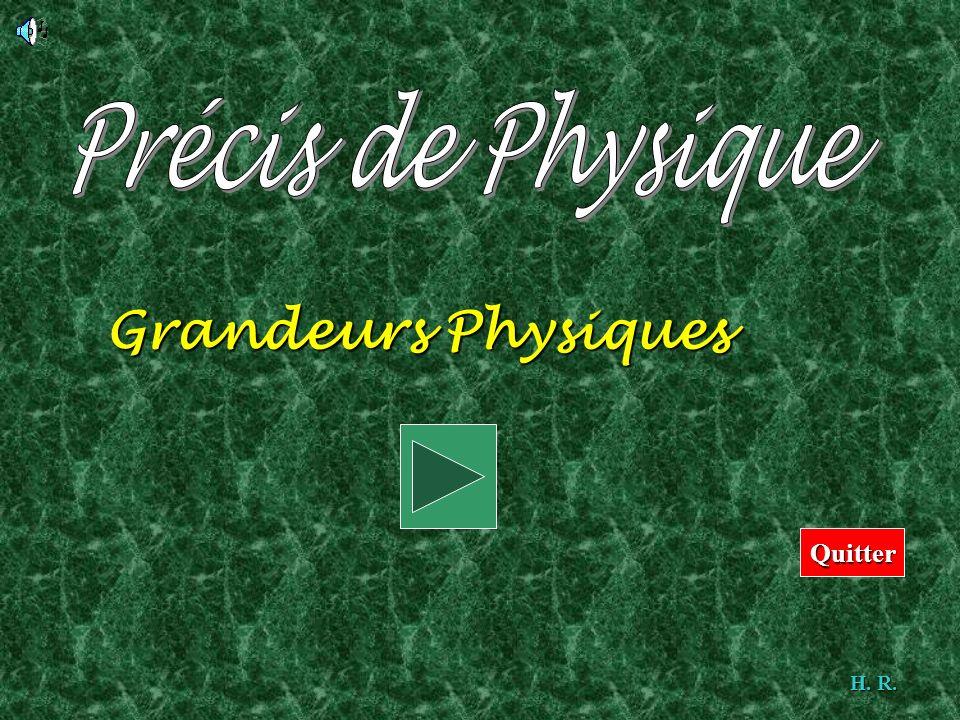 Précis de Physique Grandeurs Physiques Cliquez sur début Quitter H. R.