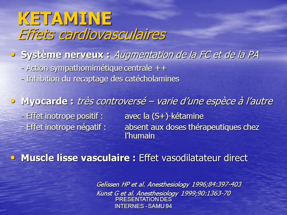 KETAMINE Effets cardiovasculaires