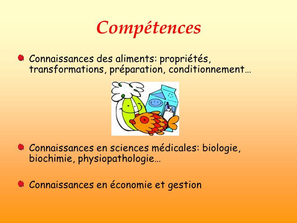 Compétences Connaissances des aliments: propriétés, transformations, préparation, conditionnement…