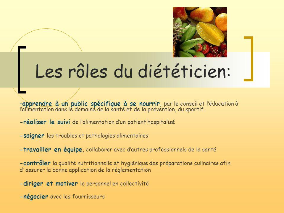 Les rôles du diététicien: