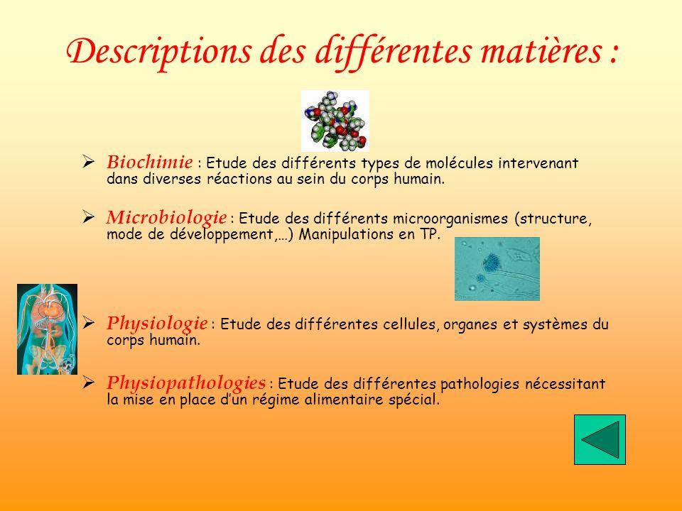 Descriptions des différentes matières :