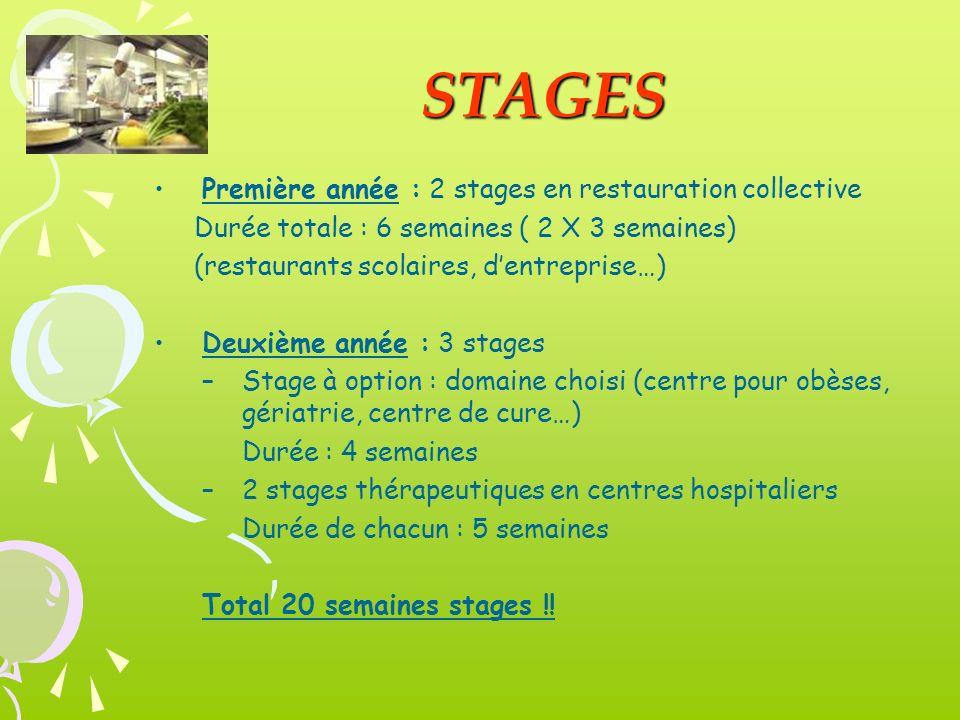 STAGES Première année : 2 stages en restauration collective