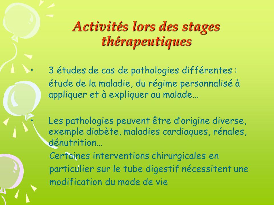 Activités lors des stages thérapeutiques