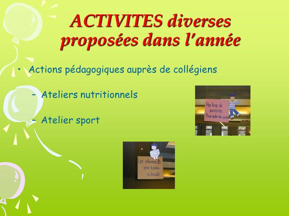 ACTIVITES diverses proposées dans l'année