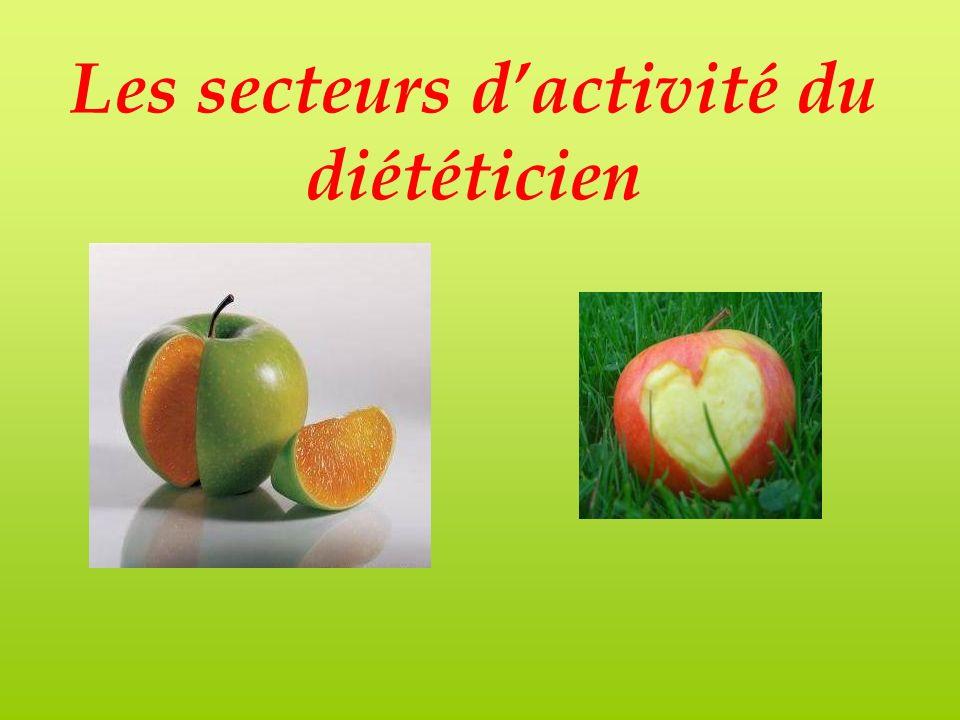 Les secteurs d'activité du diététicien