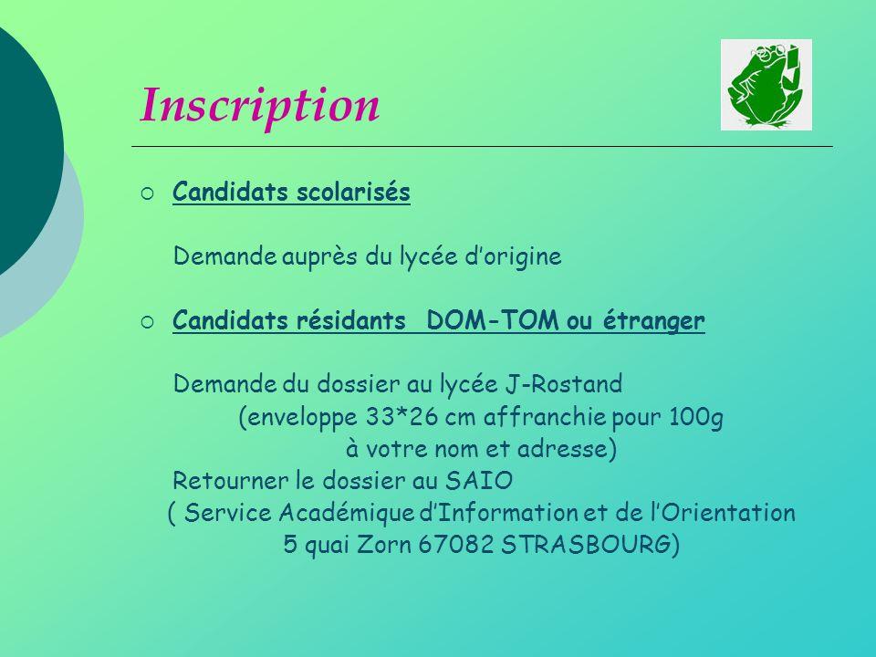 Inscription Candidats scolarisés Demande auprès du lycée d'origine