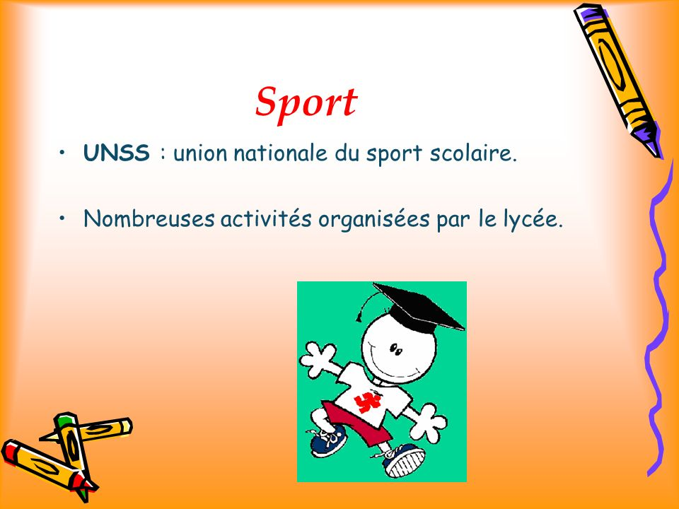 Sport UNSS : union nationale du sport scolaire.