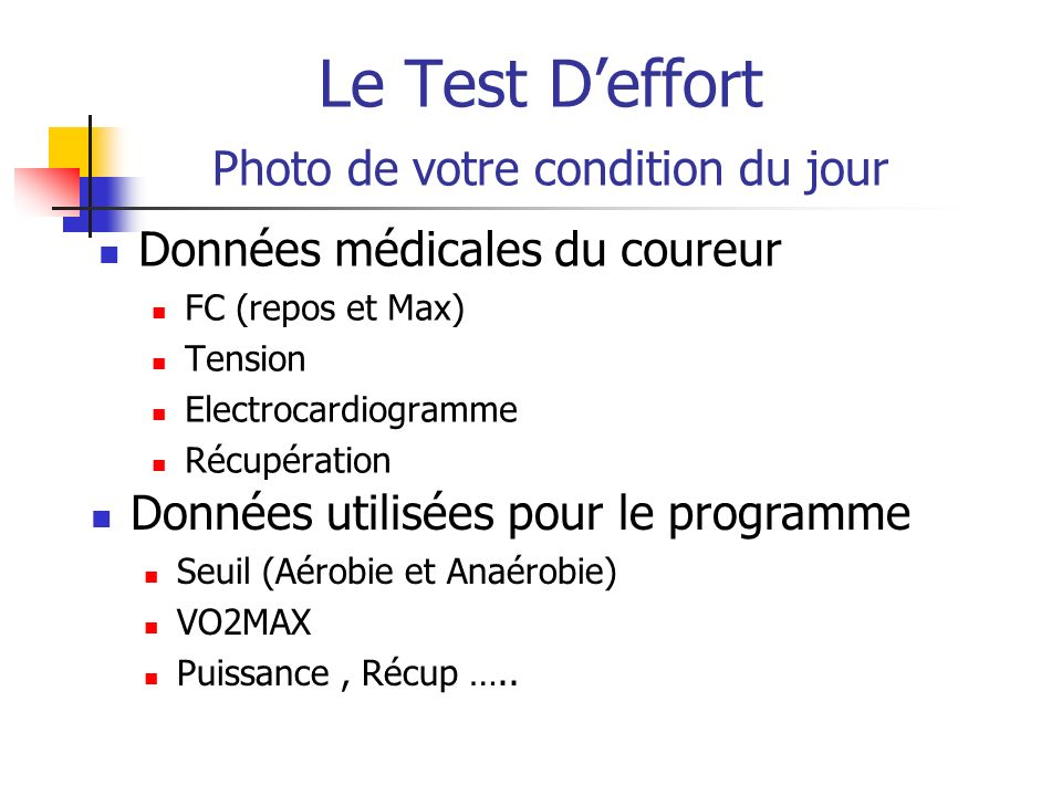 Le Test D'effort Photo de votre condition du jour