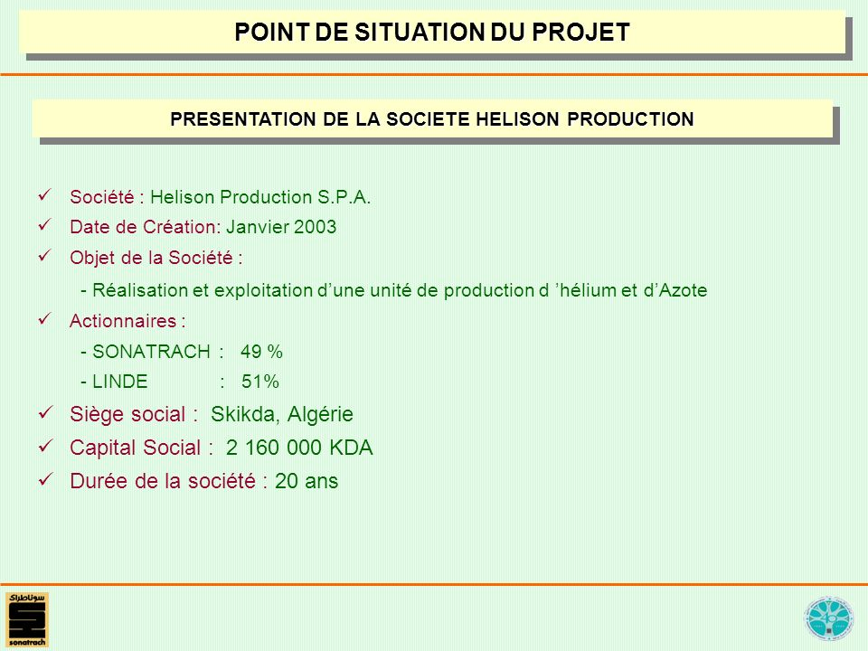 POINT DE SITUATION DU PROJET