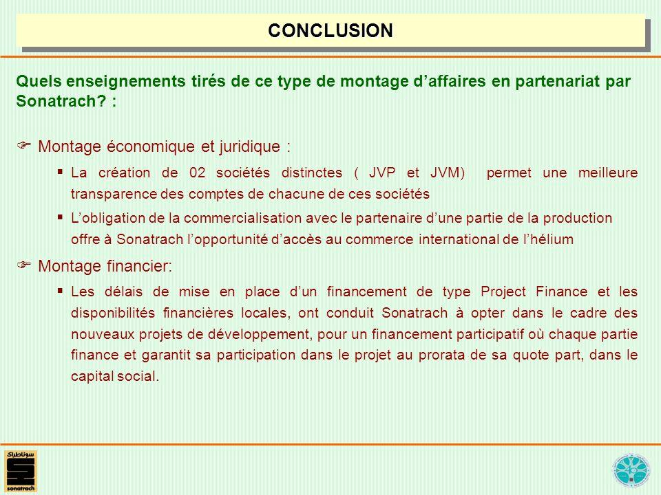 CONCLUSION Quels enseignements tirés de ce type de montage d'affaires en partenariat par Sonatrach :