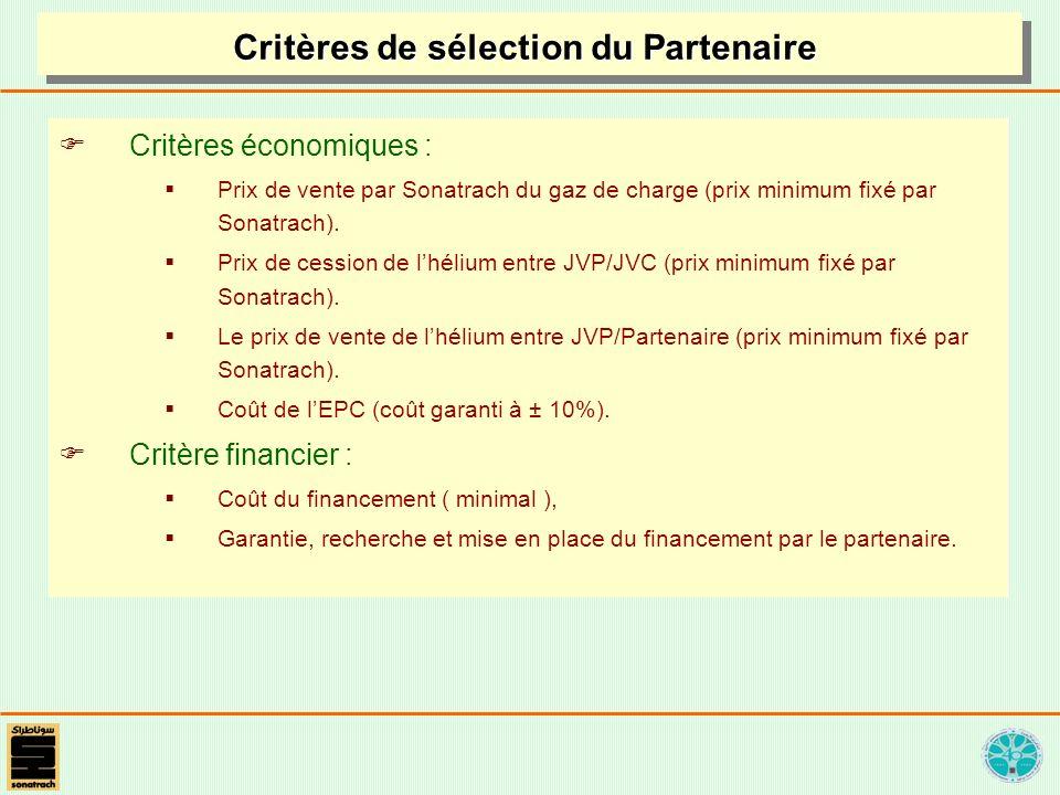 Critères de sélection du Partenaire