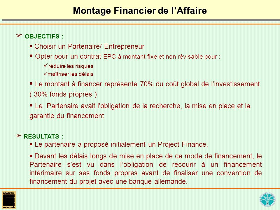 Montage Financier de l'Affaire