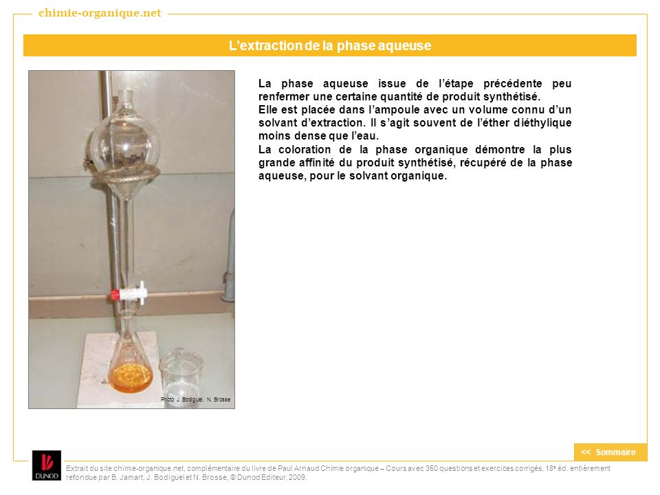 L'extraction de la phase aqueuse