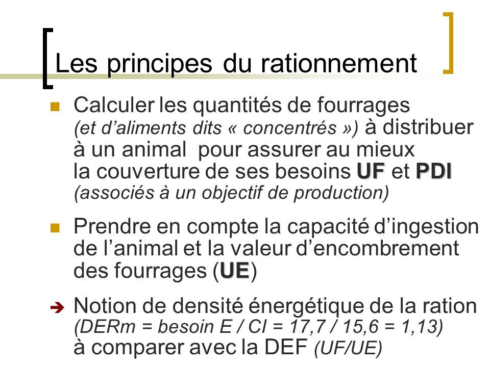 Les principes du rationnement