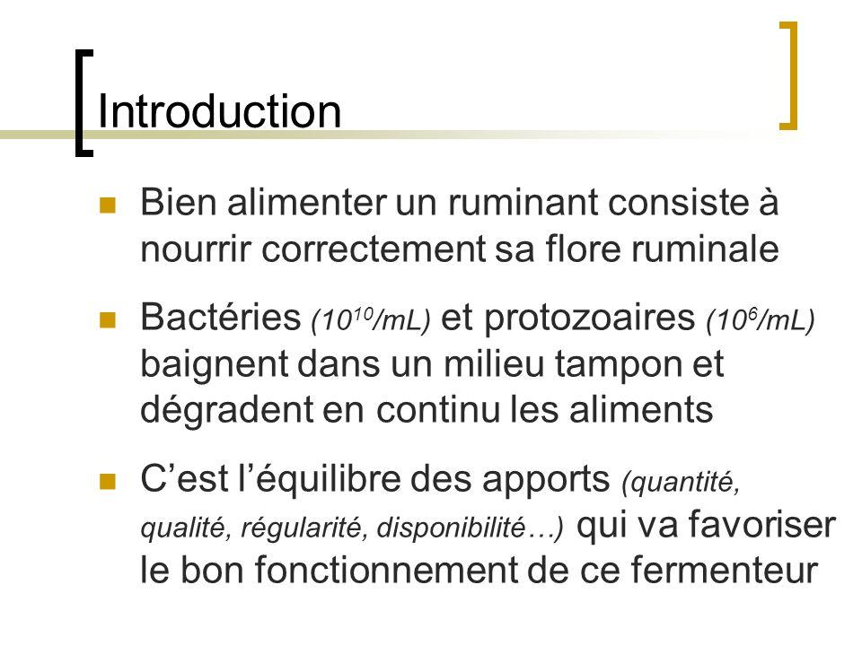 Introduction Bien alimenter un ruminant consiste à nourrir correctement sa flore ruminale.