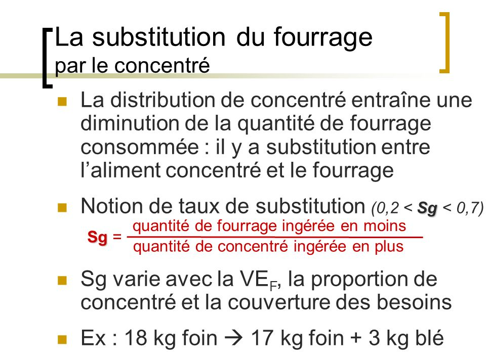 La substitution du fourrage par le concentré