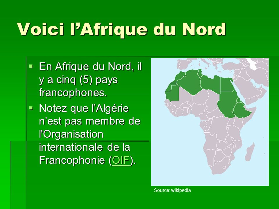Voici l'Afrique du Nord