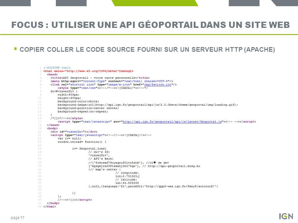 Focus : utiliser une API Géoportail dans un site Web