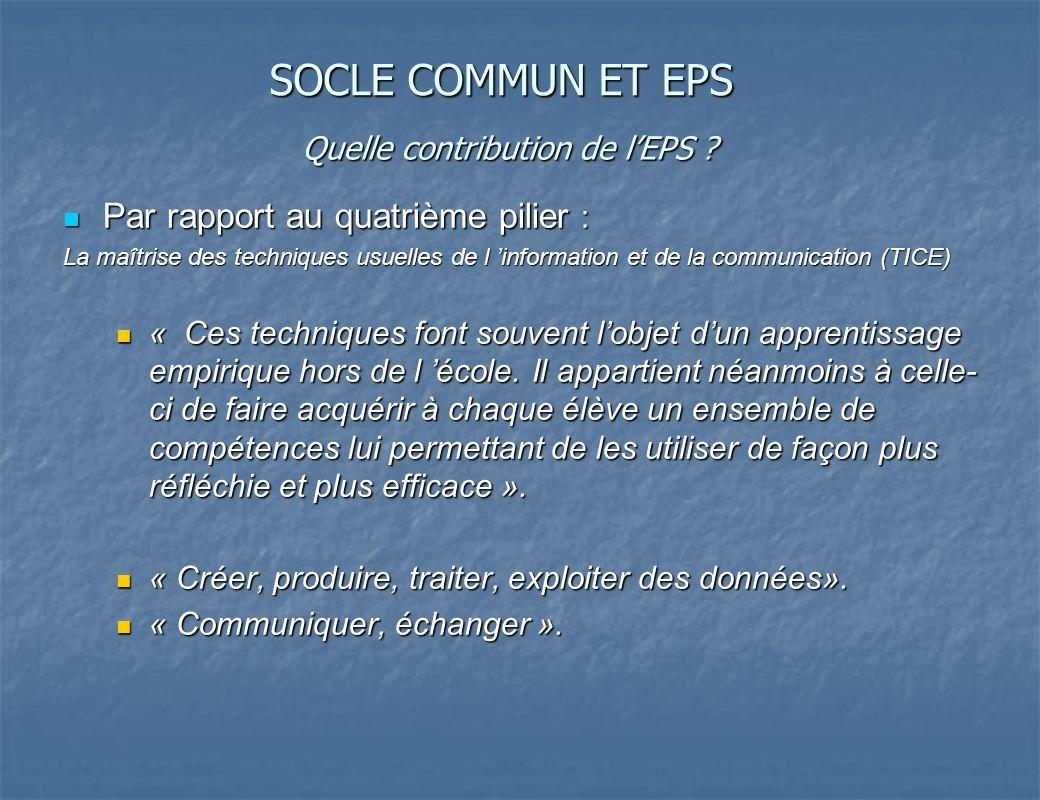 Quelle contribution de l'EPS