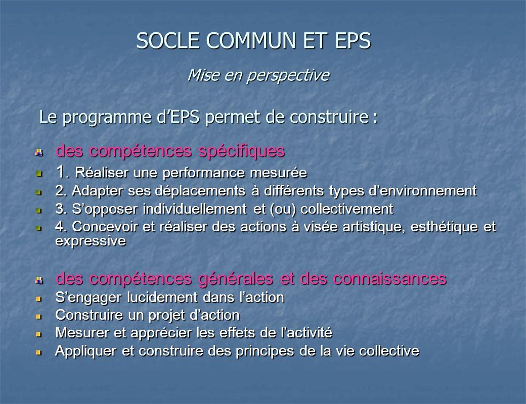 SOCLE COMMUN ET EPS Le programme d'EPS permet de construire :