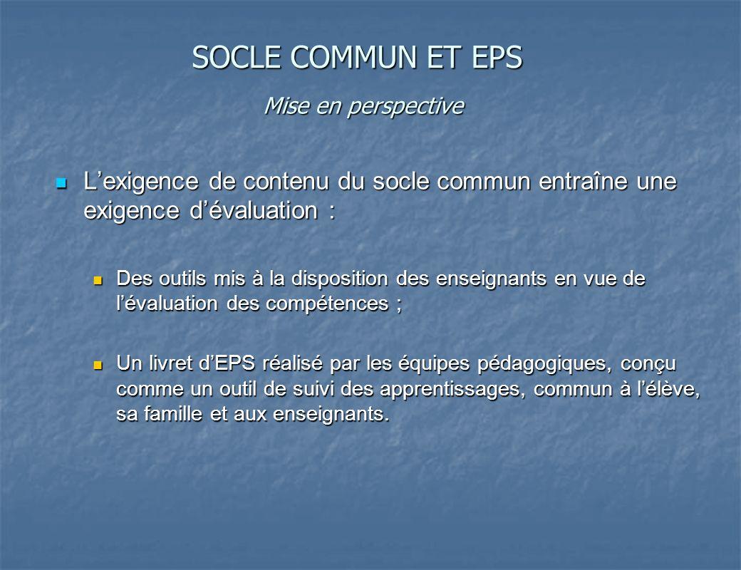SOCLE COMMUN ET EPS Mise en perspective. L'exigence de contenu du socle commun entraîne une exigence d'évaluation :