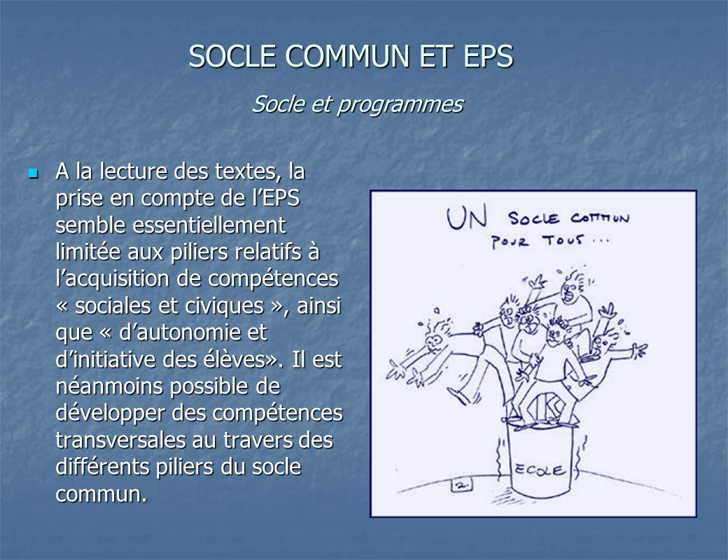 SOCLE COMMUN ET EPS Socle et programmes