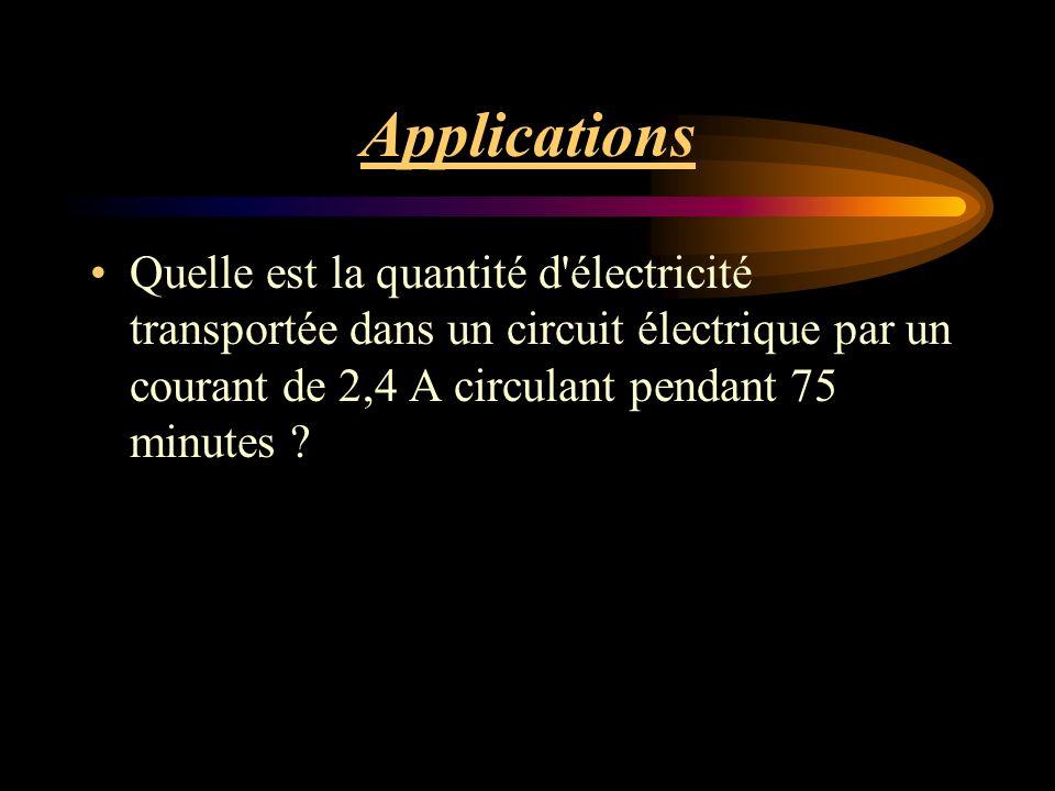 Applications Quelle est la quantité d électricité transportée dans un circuit électrique par un courant de 2,4 A circulant pendant 75 minutes