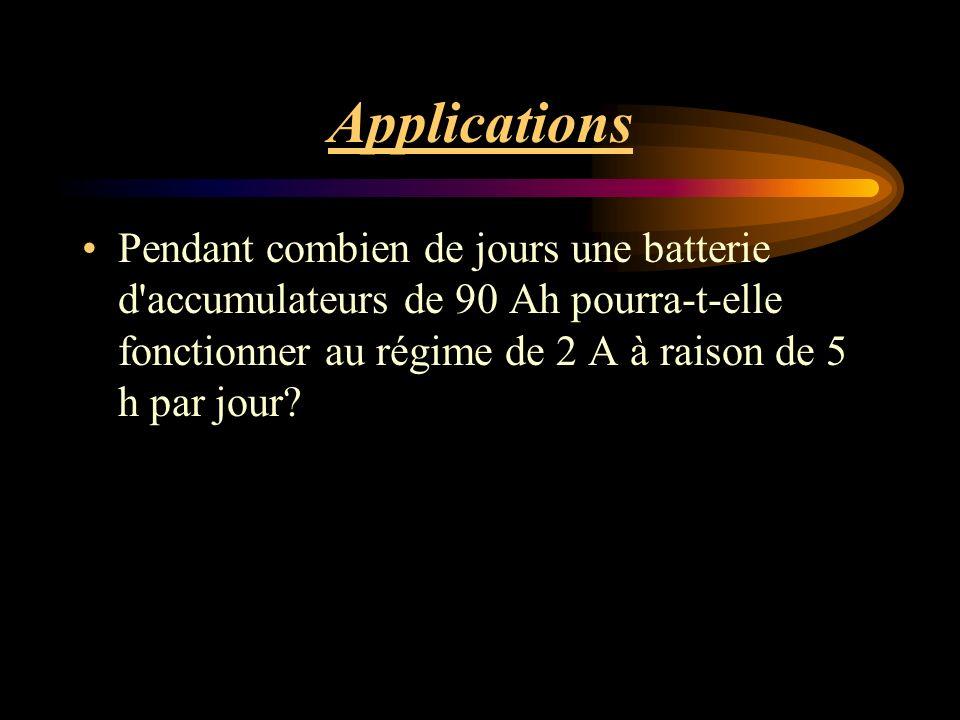Applications Pendant combien de jours une batterie d accumulateurs de 90 Ah pourra-t-elle fonctionner au régime de 2 A à raison de 5 h par jour