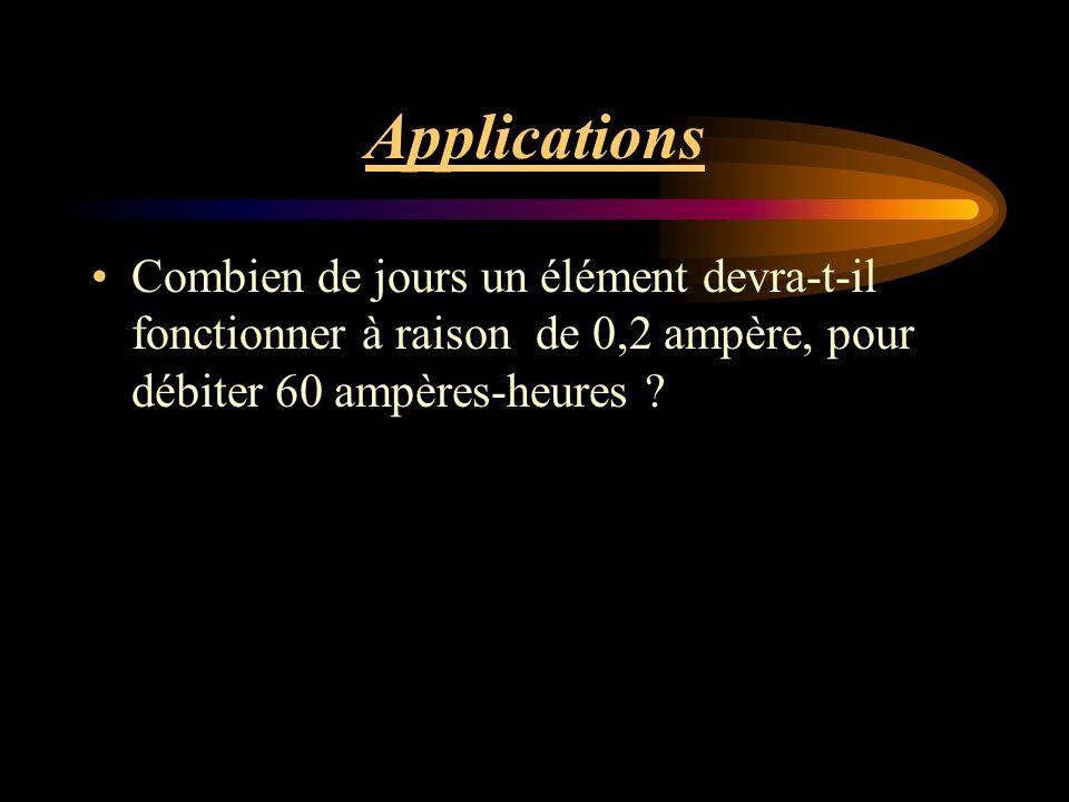 Applications Combien de jours un élément devra-t-il fonctionner à raison de 0,2 ampère, pour débiter 60 ampères-heures
