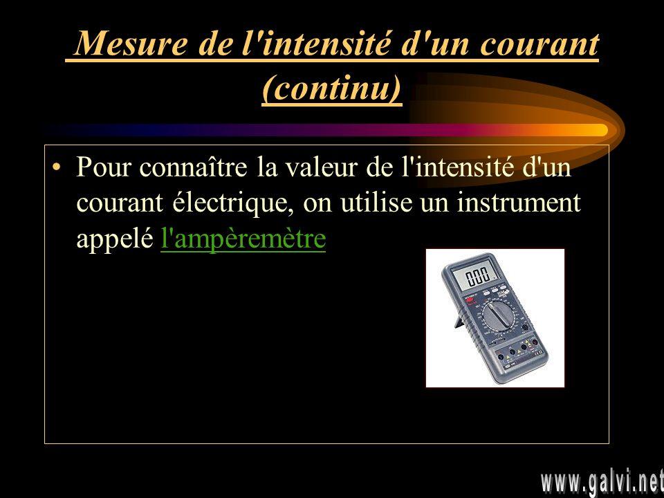 Mesure de l intensité d un courant (continu)