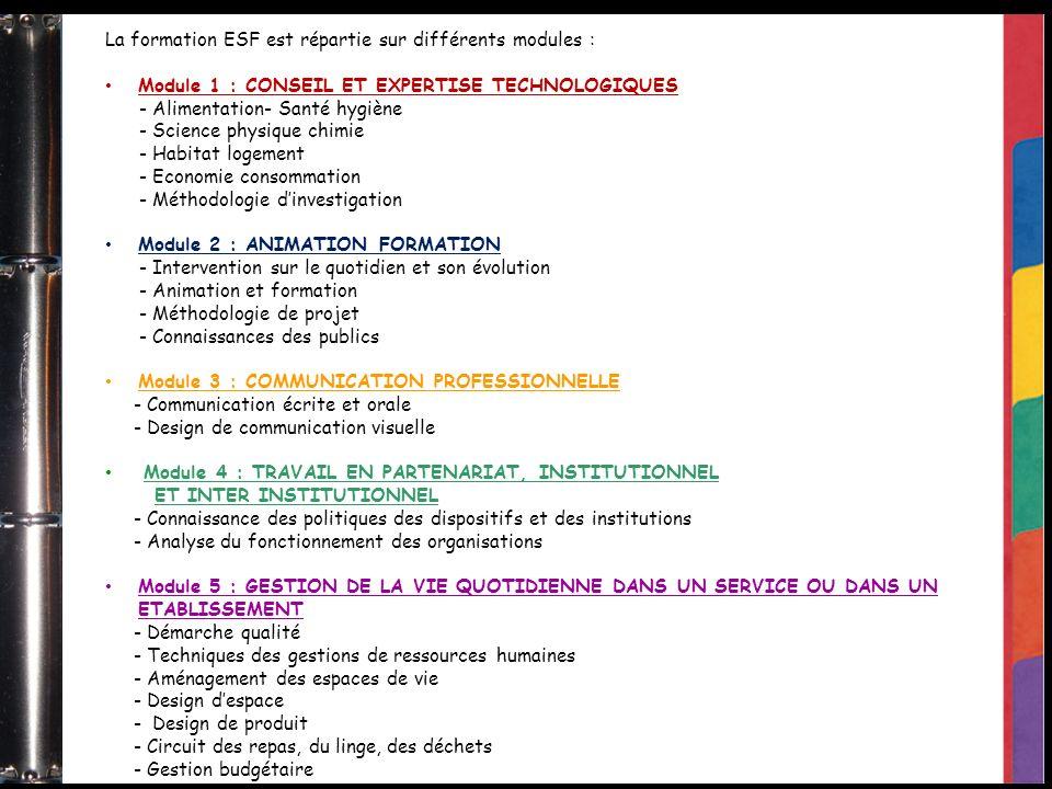 La formation ESF est répartie sur différents modules :