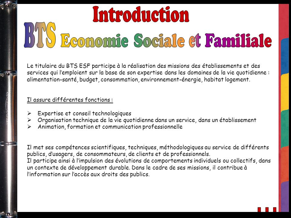 Introduction BTS Economie Sociale et Familiale ...