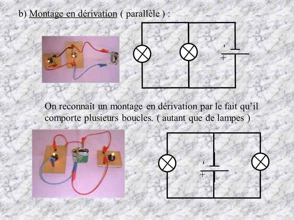 b) Montage en dérivation ( parallèle ) :