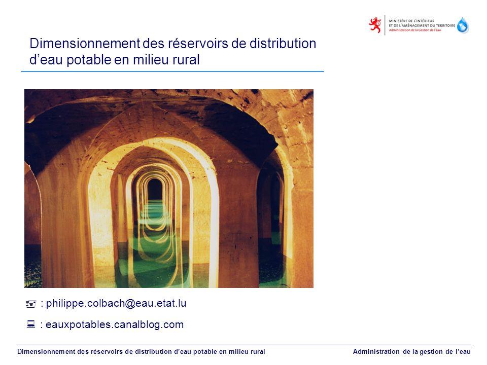 Dimensionnement des réservoirs de distribution d'eau potable en milieu rural