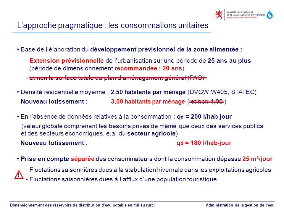 L'approche pragmatique : les consommations unitaires