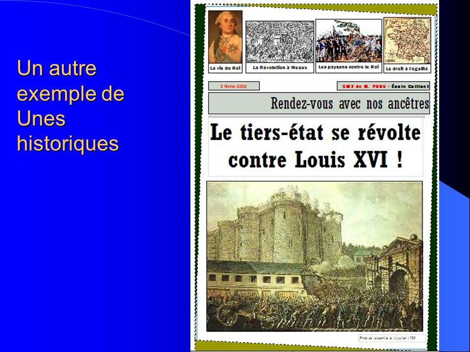 Un autre exemple de Unes historiques