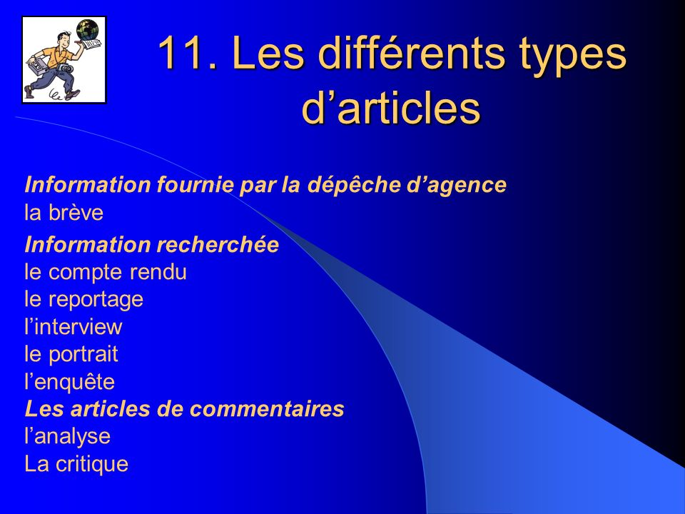 11. Les différents types d'articles