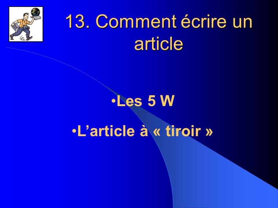 13. Comment écrire un article