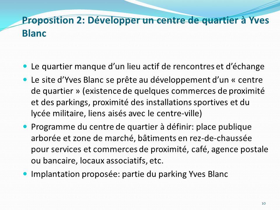 Proposition 2: Développer un centre de quartier à Yves Blanc
