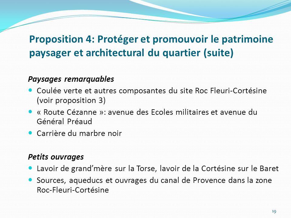Proposition 4: Protéger et promouvoir le patrimoine paysager et architectural du quartier (suite)