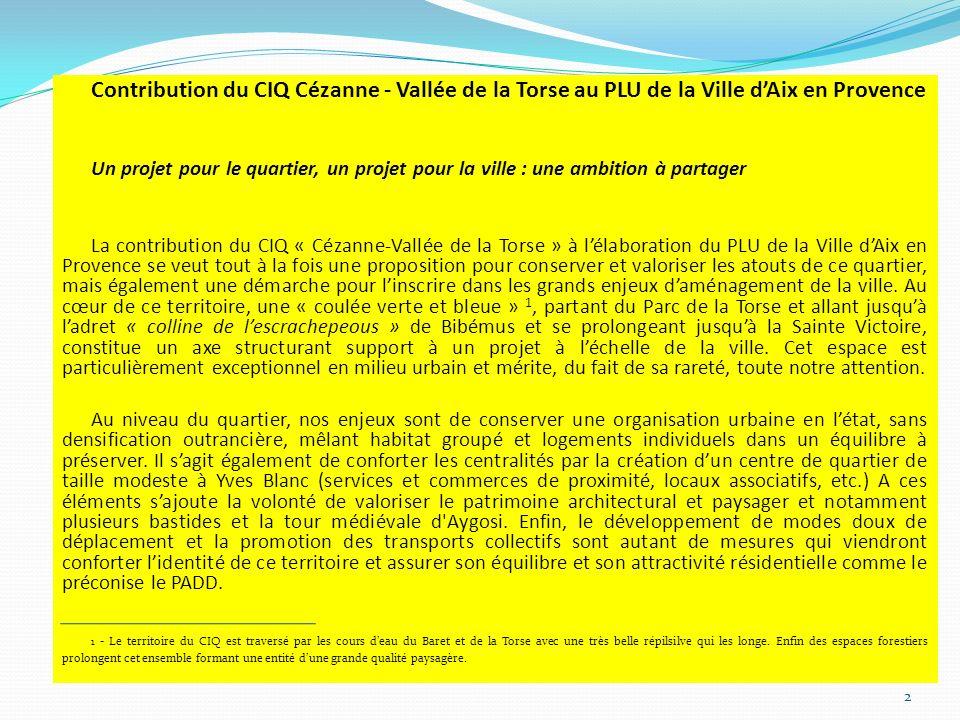 Contribution du CIQ Cézanne - Vallée de la Torse au PLU de la Ville d'Aix en Provence