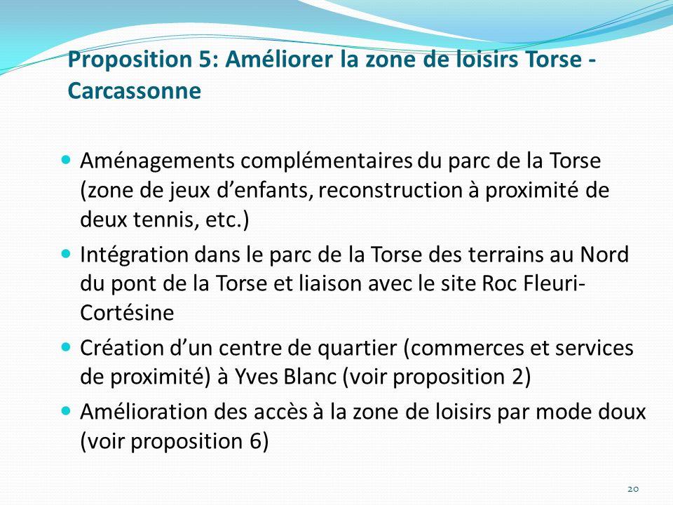 Proposition 5: Améliorer la zone de loisirs Torse -Carcassonne