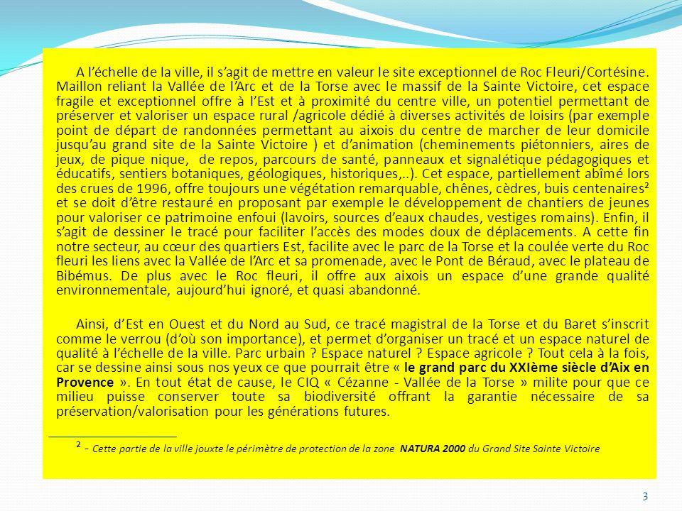 A l'échelle de la ville, il s'agit de mettre en valeur le site exceptionnel de Roc Fleuri/Cortésine. Maillon reliant la Vallée de l'Arc et de la Torse avec le massif de la Sainte Victoire, cet espace fragile et exceptionnel offre à l'Est et à proximité du centre ville, un potentiel permettant de préserver et valoriser un espace rural /agricole dédié à diverses activités de loisirs (par exemple point de départ de randonnées permettant au aixois du centre de marcher de leur domicile jusqu'au grand site de la Sainte Victoire ) et d'animation (cheminements piétonniers, aires de jeux, de pique nique, de repos, parcours de santé, panneaux et signalétique pédagogiques et éducatifs, sentiers botaniques, géologiques, historiques,..). Cet espace, partiellement abîmé lors des crues de 1996, offre toujours une végétation remarquable, chênes, cèdres, buis centenaires² et se doit d'être restauré en proposant par exemple le développement de chantiers de jeunes pour valoriser ce patrimoine enfoui (lavoirs, sources d'eaux chaudes, vestiges romains). Enfin, il s'agit de dessiner le tracé pour faciliter l'accès des modes doux de déplacements. A cette fin notre secteur, au cœur des quartiers Est, facilite avec le parc de la Torse et la coulée verte du Roc fleuri les liens avec la Vallée de l'Arc et sa promenade, avec le Pont de Béraud, avec le plateau de Bibémus. De plus avec le Roc fleuri, il offre aux aixois un espace d'une grande qualité environnementale, aujourd'hui ignoré, et quasi abandonné.