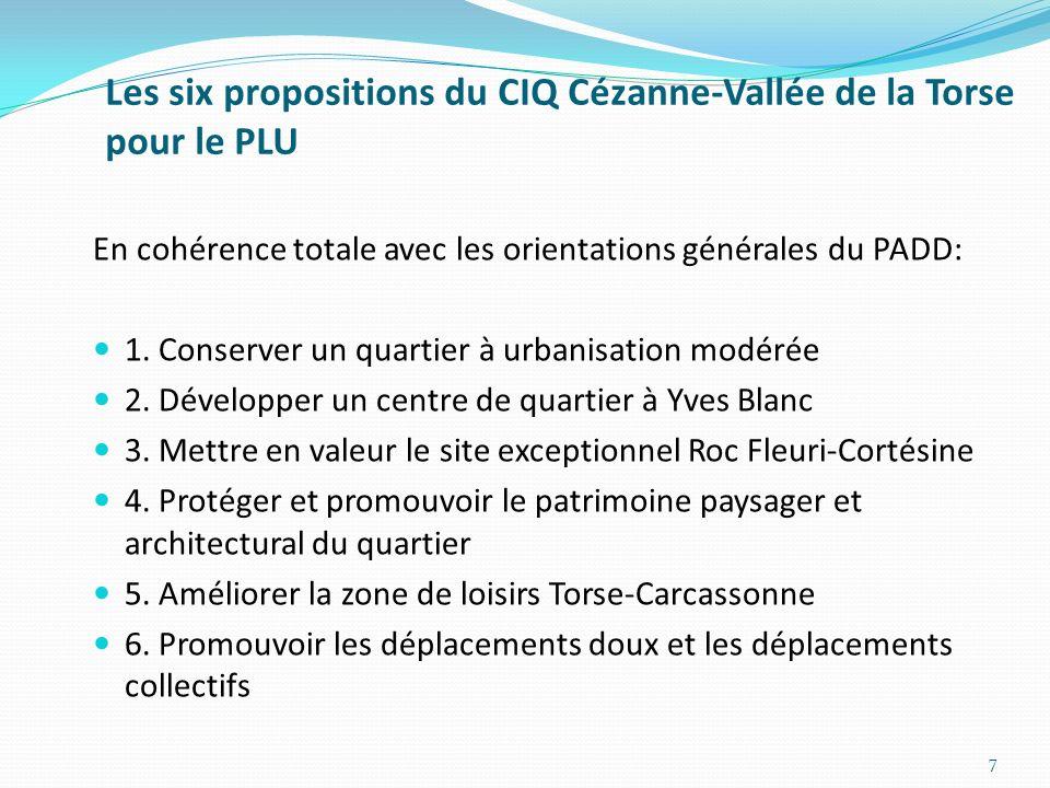 Les six propositions du CIQ Cézanne-Vallée de la Torse pour le PLU