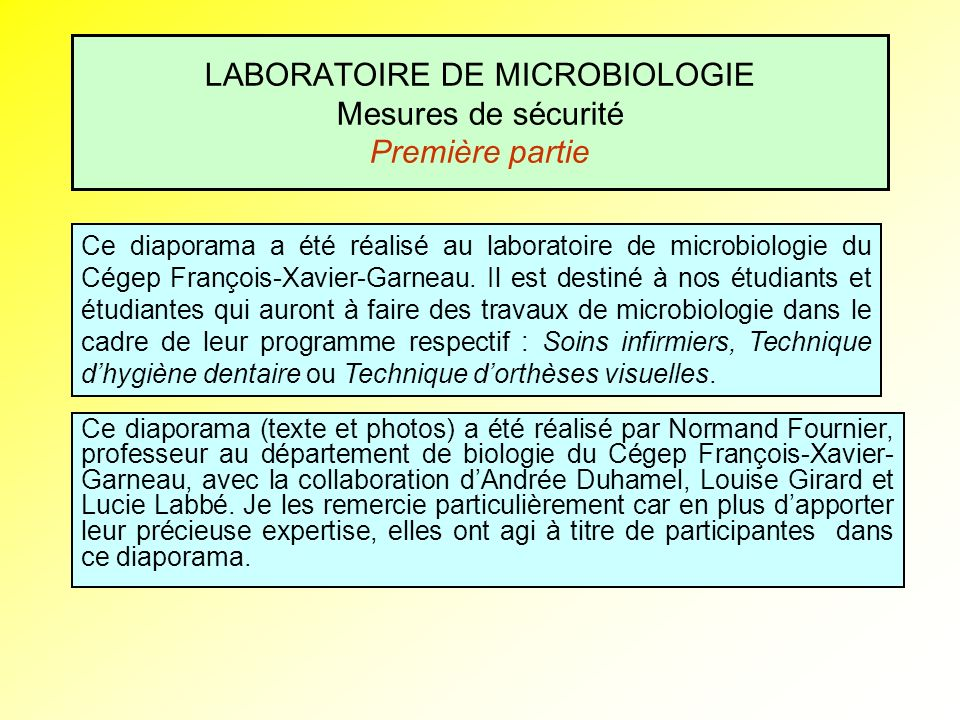 LABORATOIRE DE MICROBIOLOGIE Mesures de sécurité Première partie