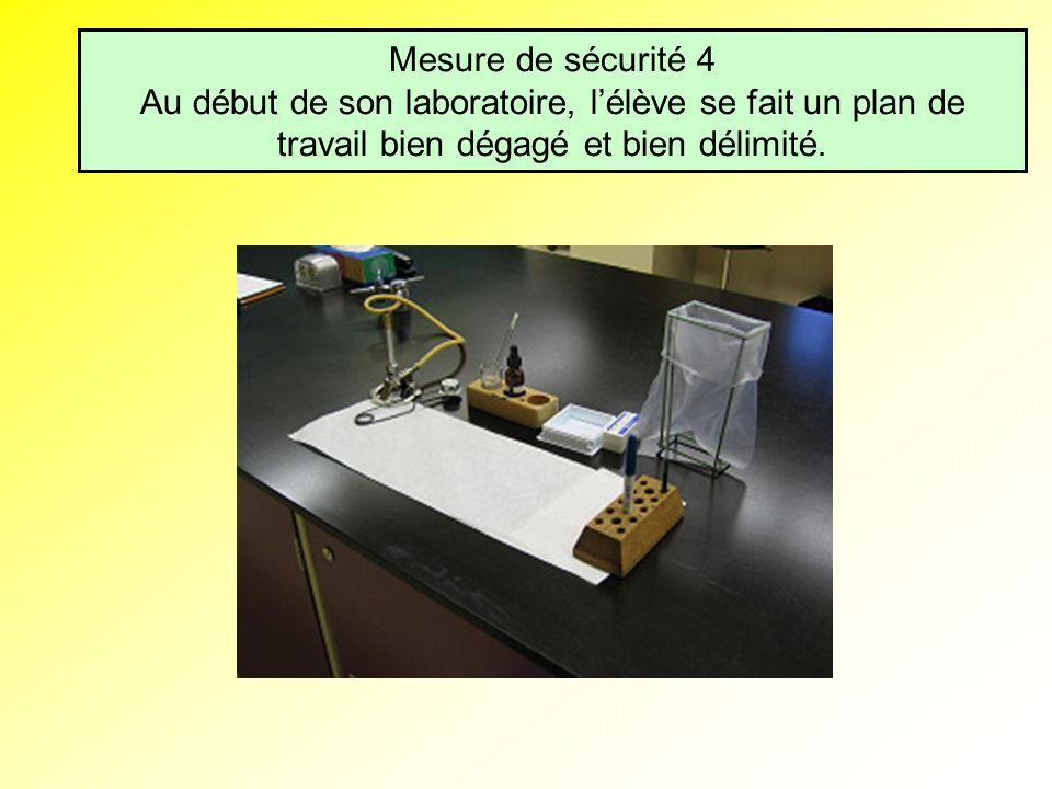 Mesure de sécurité 4 Au début de son laboratoire, l'élève se fait un plan de travail bien dégagé et bien délimité.