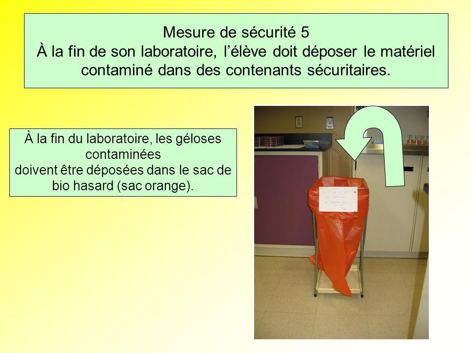 Mesure de sécurité 5 À la fin de son laboratoire, l'élève doit déposer le matériel contaminé dans des contenants sécuritaires.