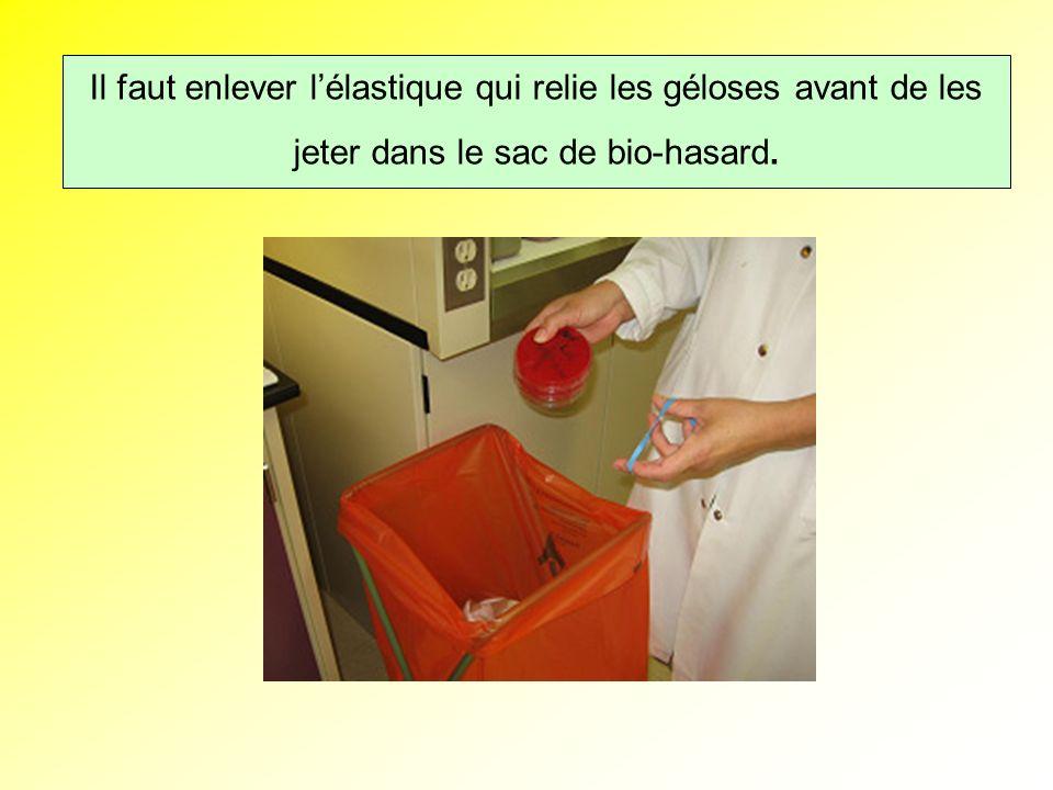 Il faut enlever les élastiques qui relie les boites avant de les jeter dans le sac de bio-hasard